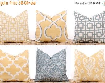 SALE ENDS SOON Yellow Pillow Covers, Gray Pillows, Saffron Yellow Throw Pillow, Lattice, Yellow and White Pillow, Ikat Pillows