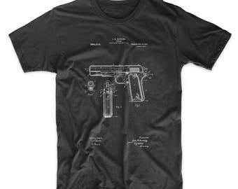Colt 1911 Semi-Auto Pistol, Colt 45 Patent Art Print, Gun Shirt, Gun Enthusiast, T Shirt, PP0076