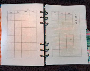 Yearly Diary Undated, Printed Insert, A5 or Personal, Filofax, Kikki K, Paperchase (RYD00)