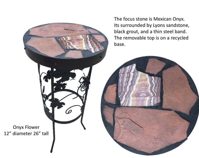 "Onyx Flower: a 12"" diameter x 26"" tall stone topped  tolk art accent table"