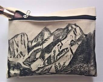 Mountain Alps  (Black) Handprinted Pencil case/Make-up bag