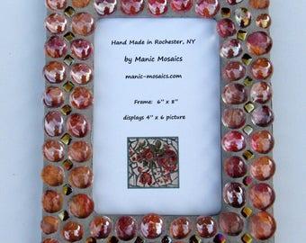 Orange Mosaic Picture Frame-mosaic art-standing picture frame-hanging picture frame- 4 by 6 picture-table top frame-mosaic
