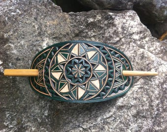 Geometrical green hand carved leather hair barrette - hair accessories - Stick Barrette - Hair Slide