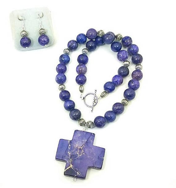 Purple Magnesite Necklace & Earrings, Purple Necklace, Cross Necklace