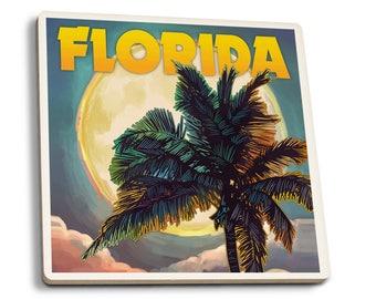 FL - Sunset and Palm Tree - LP Artwork (Set of 4 Ceramic Coasters)