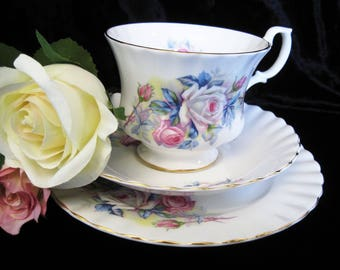 Richmond China (Royal Albert) Pink and White Rose Tea Trio
