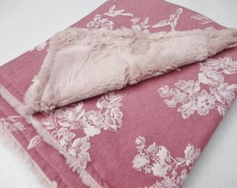 Dusty Rose Floral Minky Baby Blanket - Made to Order