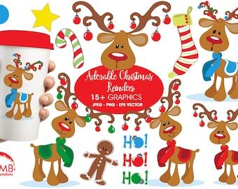 Christmas Clipart, Reindeer Clipart, Santa's Reindeer, Rudolph Clipart, Christmas Ornament Clipart, Commercial Use, AMB-500