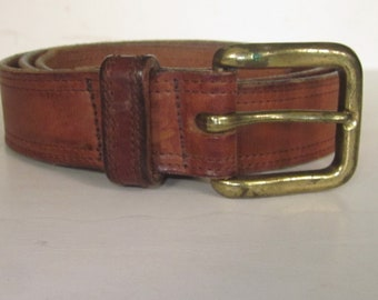 "Vintage Men's Harness Leather WESTERN WEAR Double Stitched Belt-Honey Brown  1 1/4"" Wide- Size 36 Five Holes Adjustable-Brass Square Buckle"