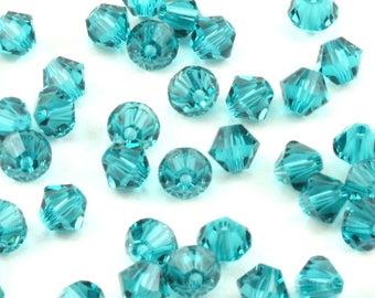 4MM Swarovski Blue Zircon Bicone Crystals - Swarovski Crystal Bicones - Swarovski 5328 Bicone XILION - 4mm Bicone Crystal Bead - 48 Pcs