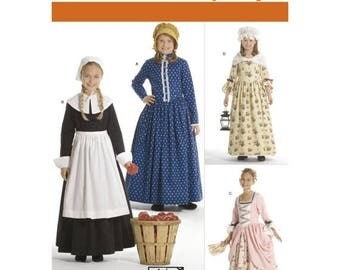3725 Simplicity Girls Pilgrim Colonial, Puritan, Little House, on the Prairie, Peasant, Early American, Historical Pattern, dress and bonnet