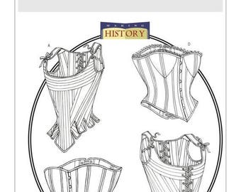 Butterick B4254 Making History Boned Stays and Corsets, Victorian Corset, Edwardian Corset, Steampunk, Burlesque laced corset