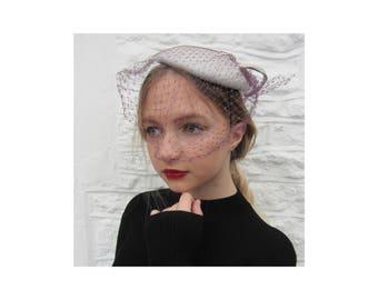 vintage hat cap 70's does 30's full face net veil topper silver purple wedding