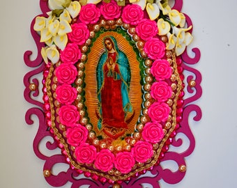 Our Lady Of Guadalupe,  Art and Collectibles, La Virgen De Guadalupe Images, Wooden Plagues, Assemblege Art, In Pink, With Crucifix
