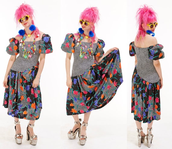 Vtg 80s MIXED PRINT Avant Garde Party DRESS Maxi Floral Polka Dot Bows Kitschy Retro Grunge Festival Ornate Poof Drop Waist Off the Shoulder