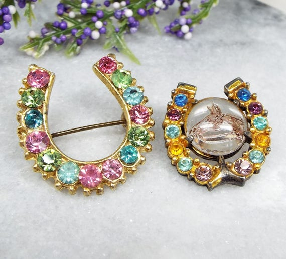 Vintage / Set of 2 Gold Tone Crystal Set Lucky Horseshoe Brooch Pins