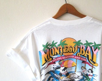 Vintage 1990s MONTEGO BAY Big Beak Classic PANAMA Florida Tshirt Sz M/L