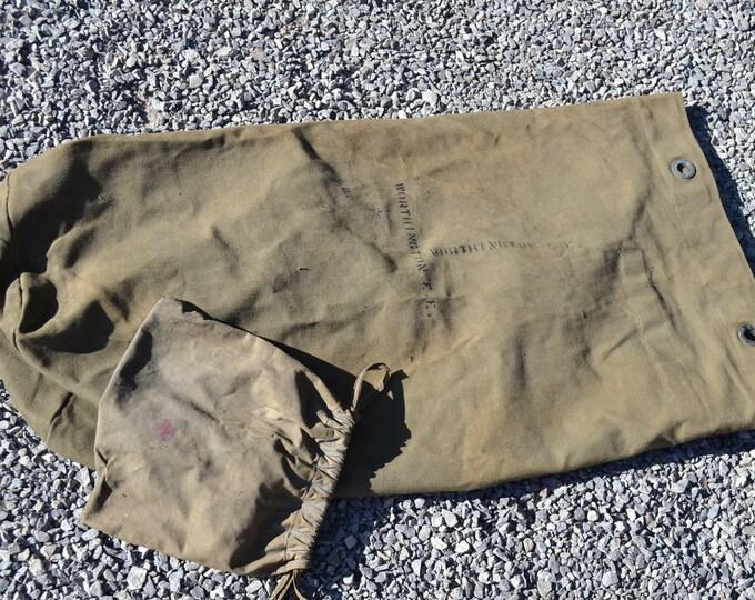 Vintage Military Duffle Bag Heavy Canvas Drawstring Tote Marked Worthington EE USA Panchosporch