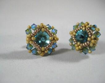 Post Stud Crystal Earrings Beadwoven Beaded Seed Beads Swarovski Crystals Titatnum Posts