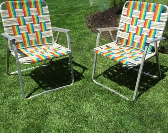 Pair of aluminum webbed lawn chairs, clamping, camping chair