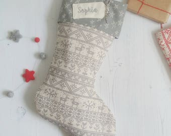 Christmas stocking - personalised Christmas stocking - grey stocking -  scandi Christmas stocking - stocking with embroidered name