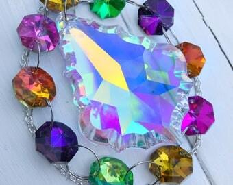 AB Crystal Prism Sun Catcher, Window Hanging, Rainbow, Aurora Borealis, Chandelier, Suncatcher, Boho Home Decor, Lighting, Gift, Gypsy