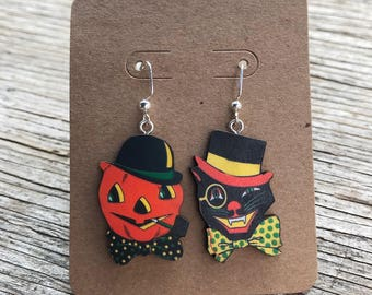 Black Cat & Jack O' Lantern Vintage Style Halloween Earrings, Pumpkin, Fall Jewelry, Halloween Jewelry, Retro, Pinup, Rockabilly, Spooky
