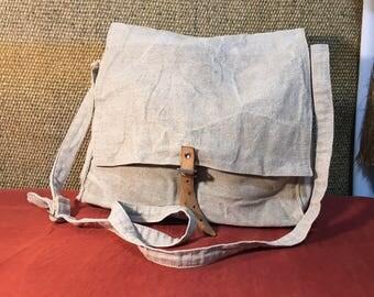 Vintage 1990's Off White Canvas Bag / Shoulder Strap Bag / Crossbody Bag