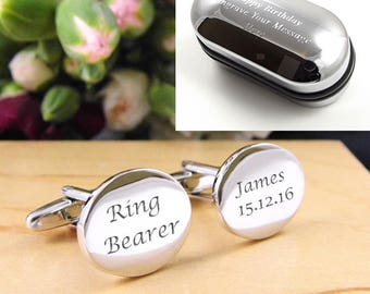 Mens Personalised Ring Bearer Wedding Day Custom Oval Engraved Cufflinks - Personalised Engraved Gift Box Available