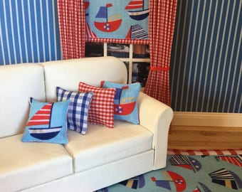 Miniature doll house modern nautical sail boat furnishings set  - curtains,  cushions - rug