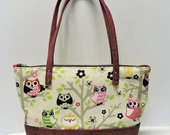 Owls n Tree Fabric and Cork Shoulder Purse/Stylish Tote/Handbag/Cork Leather