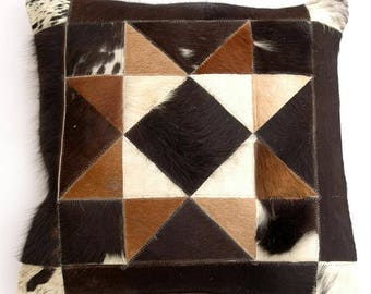 Natural Cowhide Luxurious Patchwork Hairon Cushion/pillow Cover (15''x 15'')a153