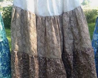 Homestead, prairie, boho, tiered skirt. Size L Handmade. Modest