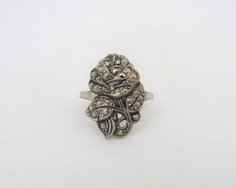 Antique Vintage Sterling Silver Marcasite Rose Flower Ring Size 6.75
