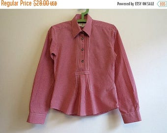 ON SALE Gingham Plaid Dirndl Blouse Checkered Red White Plaid Womens Blouse Long Sleeves Shirt Womens Shirt Dirndl Cotton Shirt Exstra Small