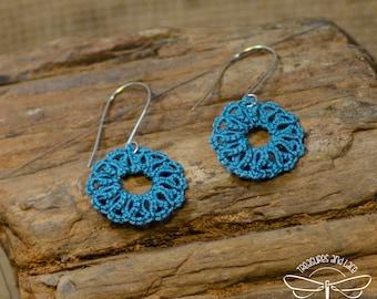 Steel Blue Tatted Lace Wheel Earrings