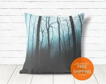 Halloween pillow, creepy decor, blue cushion, forest mist