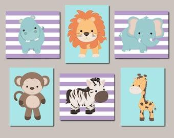 Jungle Animals Girl Nursery Decor Safari Animals Baby Animals Zoo Animals Nursery Wall Art Set of 6 Prints Or Canvas Lavender Teal Aqua Blue