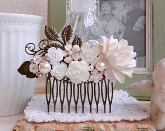 White flower and pearl assemblage wedding comb Rustic haircomb Bridal floral brass hair comb