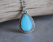 Sleeping Beauty Turquoise Necklace, Sterling Silver Sleeping Beauty Turquoise Jewelry