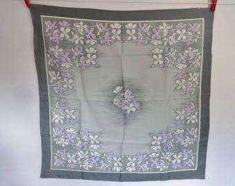 Vintage scarf St Hilaire Paris Grey Lilac  flowers 74cm x 75cm