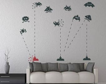 Wall decal SPACE INVADERS RETRO wall stickers for living room, vinyl wall decals, wall decals people, vinyl decals, wall mural