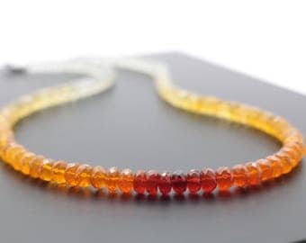 Top Quality Fire Opal necklace Mexican fire opals  /FO93/ orange gemstone collier summer necklace Natural gemstone necklace