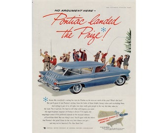 Vintage poster advertisement of a 1957 Pontiac Safari StarChief - 58