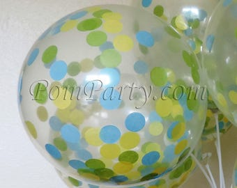 Blue, Green and Yellow Confetti Balloons, Baby Shower Balloons, Party Decorations, Green Balloons, Blue Green Party Decor, Birthday Party