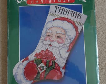 CROSS STITCH KIT - Santa Claus Counted Cross Stitch Stocking Kit - Personalized Christmas Stocking - Bernat Stocking Kit 95-8785