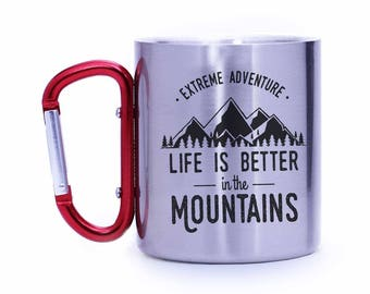 Mountain climber gift,rock climber gift,life is better in the mountains,Outdoor lover gift,Camping gear,Carabiner mug,cabin gift,CCM107