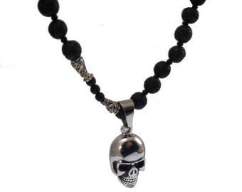 Skull and Perls Biker Macho Collier