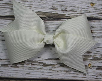 NEW Solid Ivory/Cream Toddler/Girl Basic Boutique Hair Bow on Lined Alligator Clip