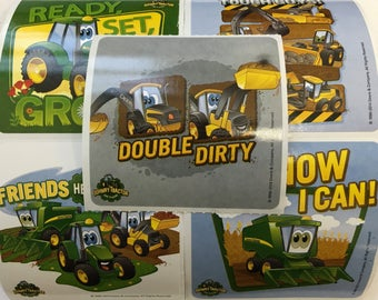 FREE SHIP- 15  John Deere Tractor Stickers Party Favors Envelope Invitation Seals - Farm Barnyard Party